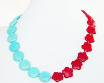 Chunky Pearl Necklace Pearl Statement Necklace Hot Pink