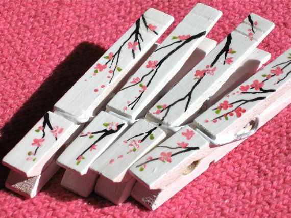 CHERRY BLOSSOMS CLOTHESPIN hand painted magnetic by SugarAndPaint, $10.00