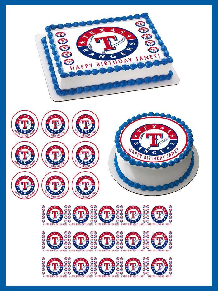 Texas Rangers Edible Birthday Cake Topper OR Cupcake Topper, Decor #BirthdayChild