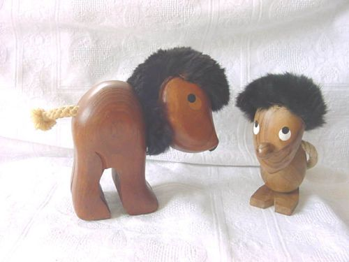 Vintage-MID-CENTURY-MODERN-Sveistrup-Denmark-Teak-Wood-LION-amp-Retro-Troll-SPAIN