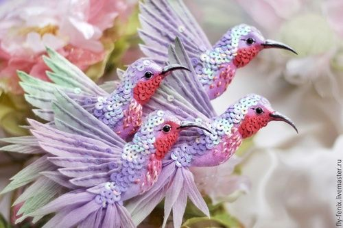 Miniature hand painted natural silk and cotton beaded textile 'FLEUR' Hummingbird brooches ....................................................................................... by Julia Gorina