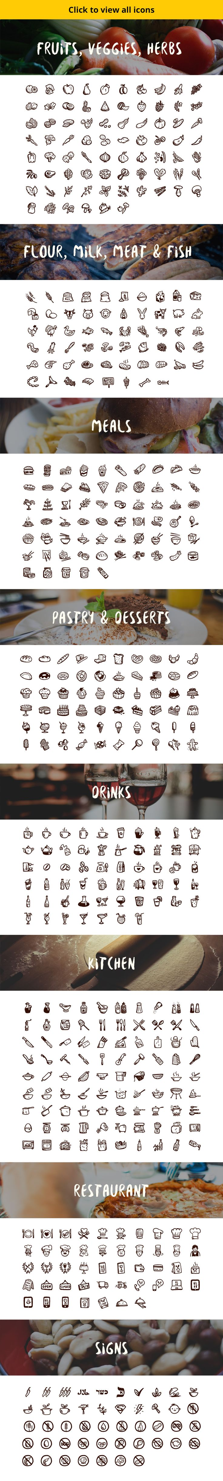 500 hand-drawn food icons by Hand-drawn Goods on Creative Market
