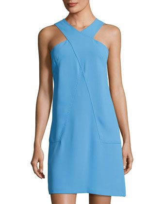 Nora+Cross-Neck+Dress,+Light+Blue+by+Cynthia+Steffe+at+Neiman+Marcus+Last+Call.