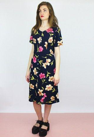 VINTAGE+Floral+Print+Midi+Dress+