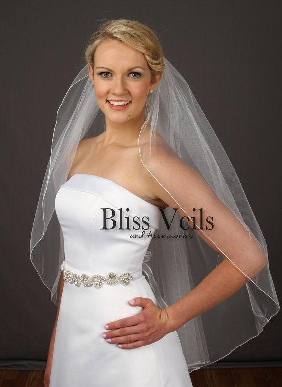Hochzeitsschleier, Fingerspitze Schleier, Brautschleier, Elfenbein, weiß, weiße Schleier, schnelles Verschiffen Schleier!