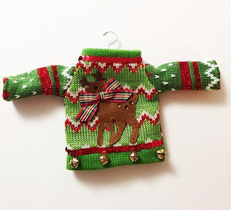 UGLY CHRISTMAS SWEATER ORNAMENT Demdaco Green Chevron Deer Tacky Collectible #Demdaco