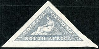 "Union of South Africa  1926 Scott 21 4d blue gray ""Hope"" In 1926, an imperforate homage to the Cape of Good Hope triangulars was issued. This consisted of two stamps: an English and an Afrikaans inscription, each issued on a separate sheet."
