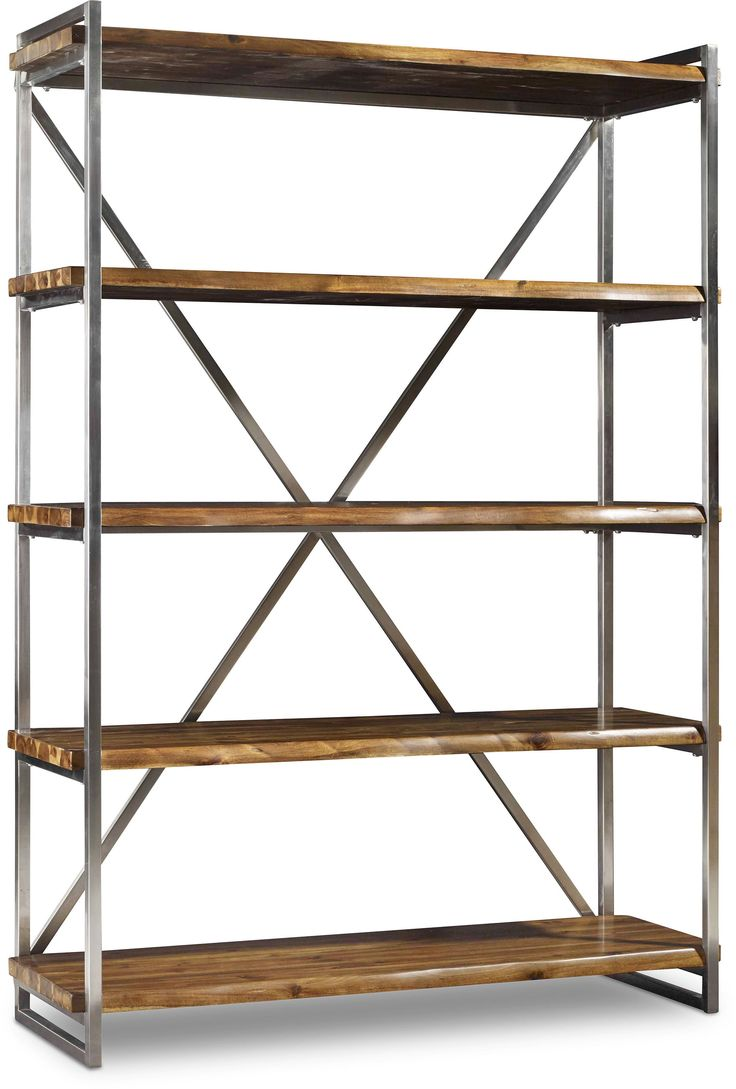 shop for hooker furniture live edge etagere and other home office bookcases furniture contemporary metal frame with contrasting rustic live edge shelves