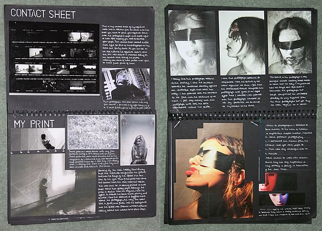 These sketchbook pages are part of the research and planning in an A Level Photography project exploring the theme 'Hidden Identity'. The inclusion of test strips is beneficial (even in digital photography these can be produced, testing different contrast, lighting and colour filters that have been applied to an image); images are neatly trimmed and positioned on the pages. Articulate, well-reasoned annotation adds to the sharp, clean presentation style.