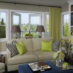 Graciela Rutkowski Interiors Living Rooms Chartreuse Curtains Chartreuse Drapes Silk