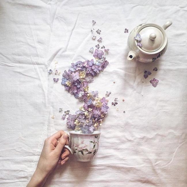 Rus Sanatçı Marina Malinovaya'dan Fincan ve Çiçeklerle Yapılmış 20 Muazzam Çalışma Sanatlı Bi Blog 9