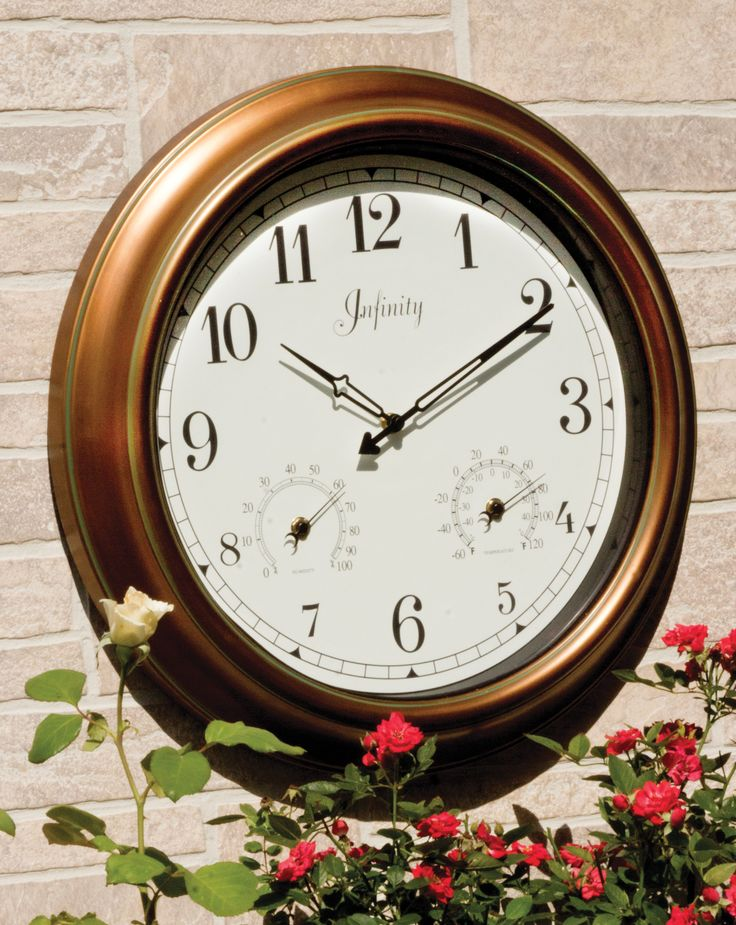 "Get this 18"" indoor/outdoor clock for a rustic look that never goes out of style. http://www.menards.com/main/outdoors/outdoor-decor/thermometers-rain-gauges-weathervanes/18-indoor-outdoor-copper-wall-clock/p-2215977.htm?utm_source=pinterest&utm_medium=social&utm_campaign=outdooroasis&utm_content=clock&cm_mmc=pinterest-_-social-_-outdooroasis_-clock"