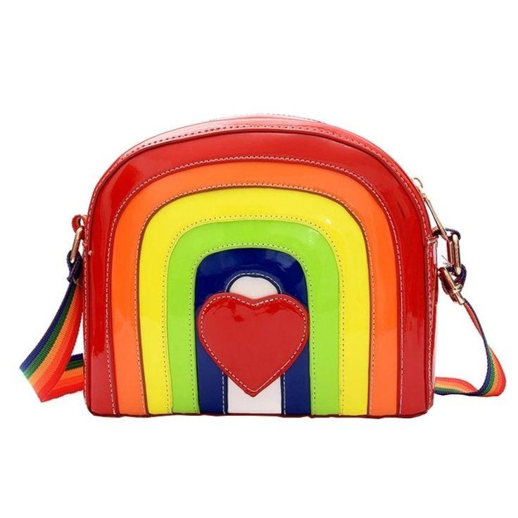 Bolsa Feminina Multi Cores Delicada Arco-Íris, bolsa divertida, bolsa pequena, bolsa tumblr, bolsa blogueira