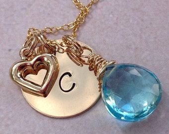 Check out Gold Initial Charm Necklace Blue Quartz Wire Wrapped Charm Pendant Gold Disc Kids Initials Bridesmaid Gift Wedding Flowergirl Birthday on glitterazzijewels