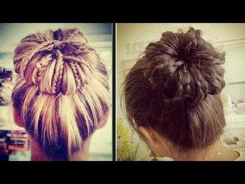 Like and favorite for more ♥ Learn how to do more cute hairstyles: http://www.youtube.com/playlist?list=PLD4D5DE6CCCF00AF4  Hey guys,  today I'm going to teach you how to make a sock bun and use it to create a braided bun updo. This hairstyle will work on short, medium, and long hair. Hope you enjoy this highly requested tutorial. :)    Braided Hai...