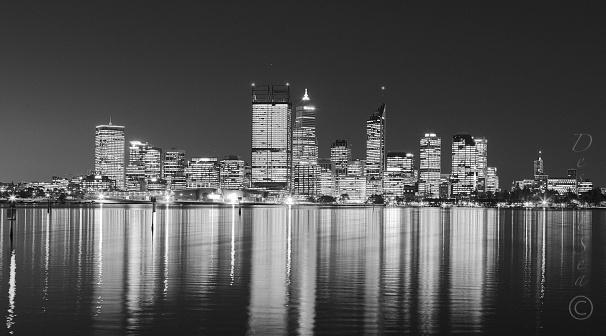 Perth at dusk! #perth #westernaustralia #blackandwhite #city #skyline