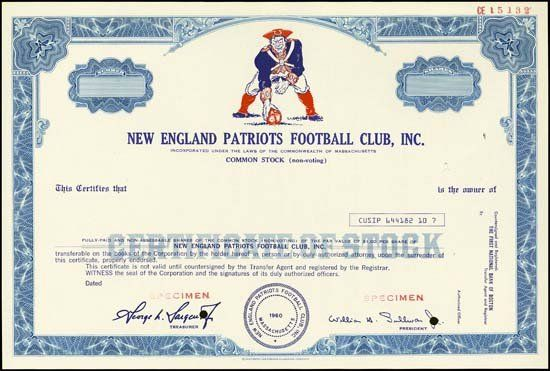 5414: New England Patriots Football Club Spec. stock