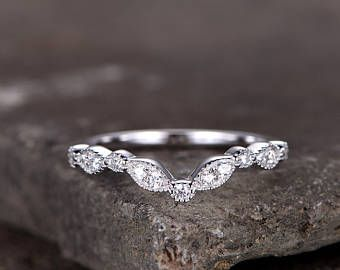 Sterling silver ring/Cubic Zirconia wedding band/CZ wedding ring/stackable ring/Matching band/marquise band/Curved Sharp V shape gap ring