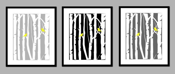 Birch Tree Love Bird Modern Home Decor Prints  Set by karimachal, $45.00: Birches Prints, Modern Yellow, Birches Trees, Birds Modern, Home Decor, Modern Home, Gray Wall, Decor Prints, Gray Nurseries