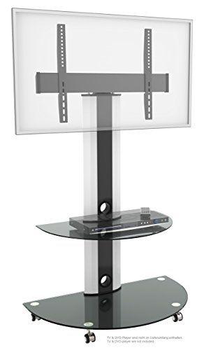 RICOO Estante TV LED pie de vidrio Soporte inclinable FS0502 giratorio rotable con rueda Estante television LED pantalla plana mueble estante VESA 600x400 Universal con portaobjeto para DVD #soporte #televisor