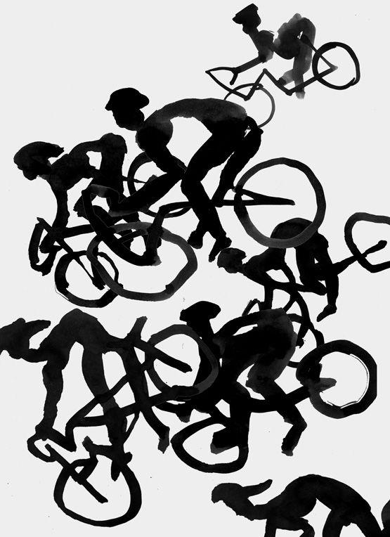 Norbert Schmitt – Drawing, Ink: Sturz im Rennsport Doping begleitete von Anfang an das größte und schwerste Radrennen der Welt. Die Fahrer schluckten alles, was irgendwie eine Leistungssteigerung ode... Figuren  #Anabolika #Anfang