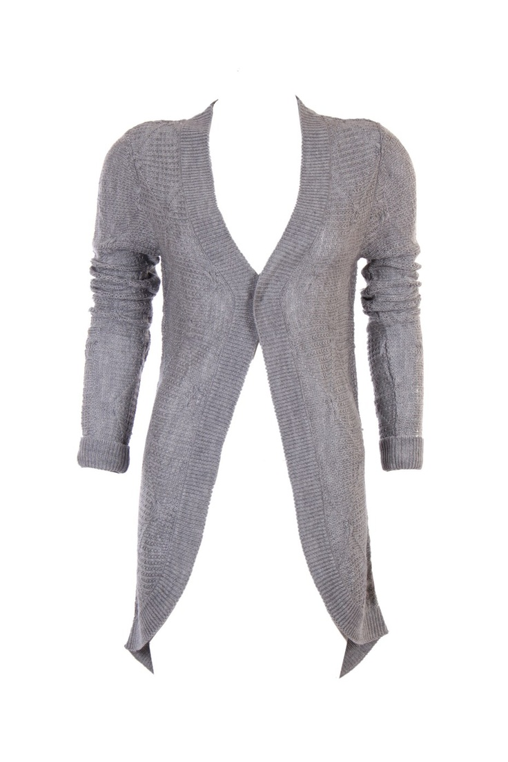 """""""Structured Knit Front Open Cardigan; Light Grey Colour In 100% Soft Acrylic; 36.5 """" In Length"""" Outer Wear #Clothing #Fashion #Style #Wear #Colors #Apparel #SemiFormal #Casuals #W for #Woman"""