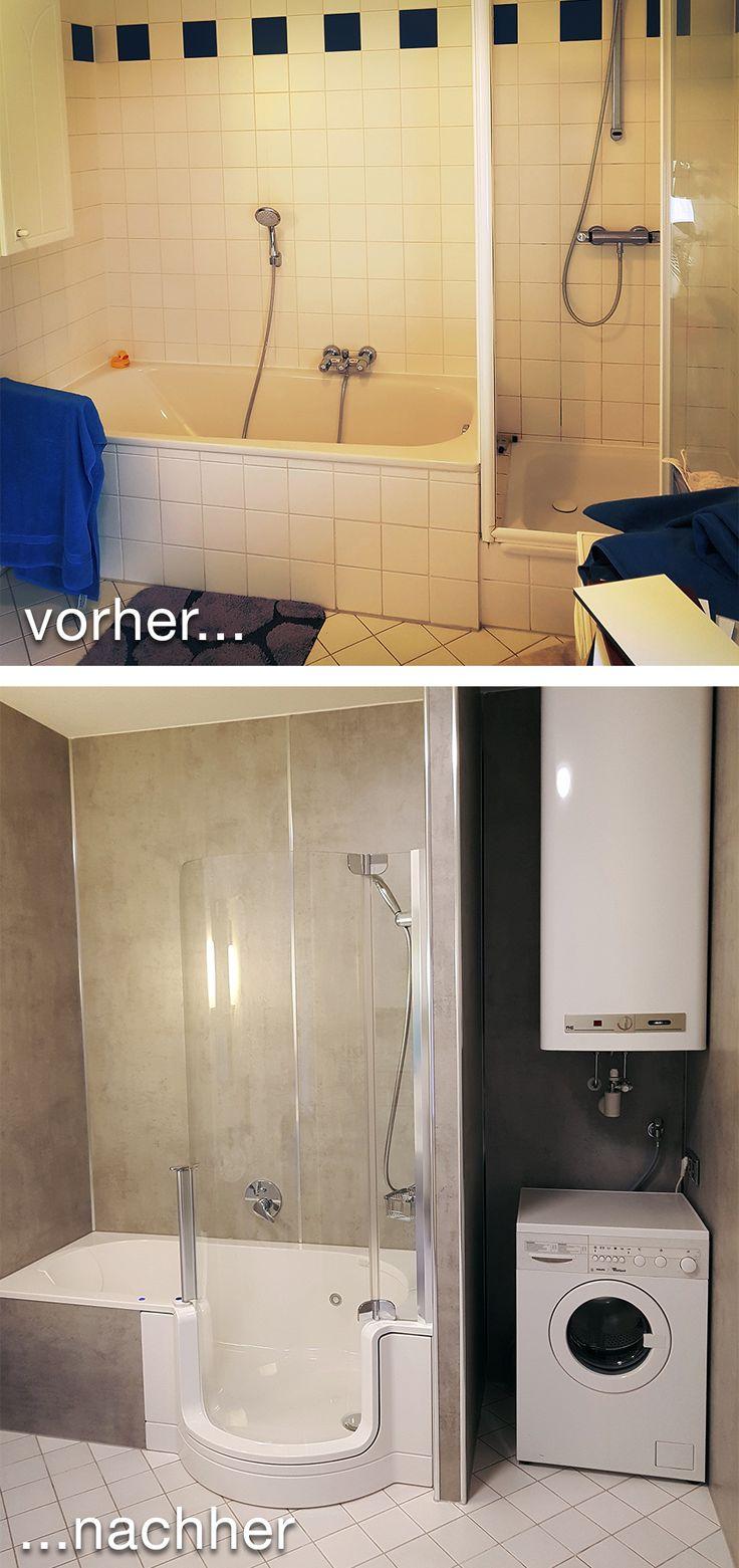 Badrenovierung Mit Komfort  Und Platzgewinn: Statt Extra Badewanne Und  Dusche Mit Hohem Einstieg Bietet Nun Die TWINLINE 1 Duschbadewanne Beides  An Einem ...