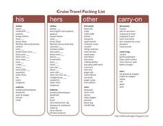 Wife on a Budget: Printable Cruise Packing List