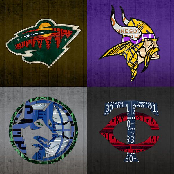 Minneapolis Sports Fan Recycled Vintage Minnesota License Plate Art Wild Vikings Timberwolves Twins by Design Turnpike