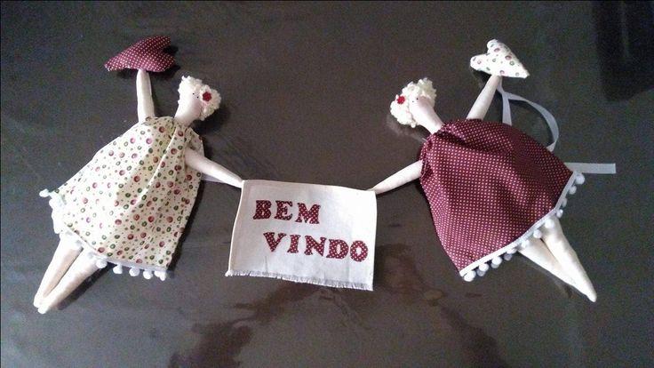 Bonecas de pano Tildas delicadas ,desejando boas vindas na sua entrada de casa, presente ideal para Dia das Mães