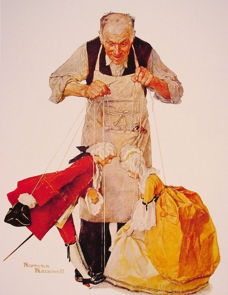 norman rockwell paintings | The Puppeteer - Norman Rockwell - WikiPaintings.org