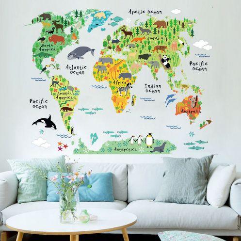 Наклейка на стене Карта мира. Нашла здесь - http://ali.pub/htjqc
