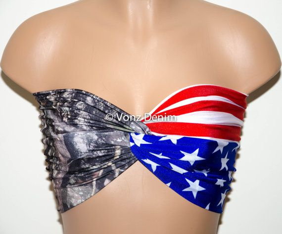 American Flag and Camo Bandeau, Beach Bra Swimsuit Top, Bikini Top Bandeau, Spandex Bandeau, Twisted Tops Bathing Suits  DESCRIPTION - Custom Order -