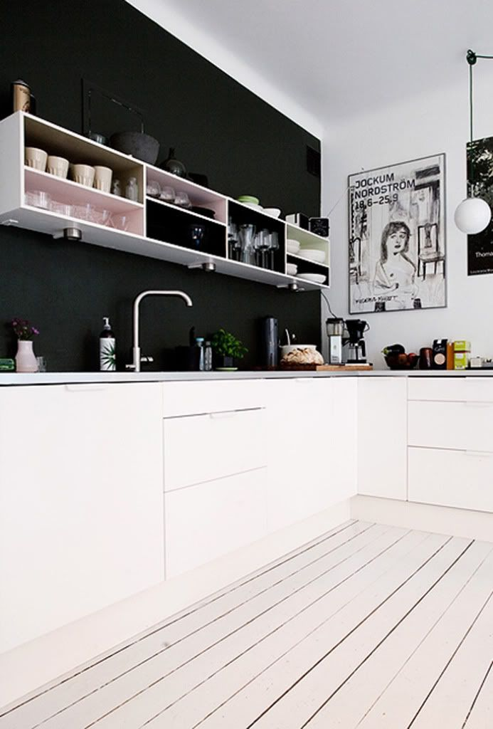 kitchen with black accent wall for the home pinterest. Black Bedroom Furniture Sets. Home Design Ideas