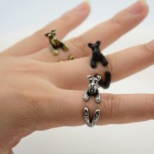 Anillo punky 1 Unidades de La Vendimia 3D Animal Cachorro Schnauzer Miniatura…