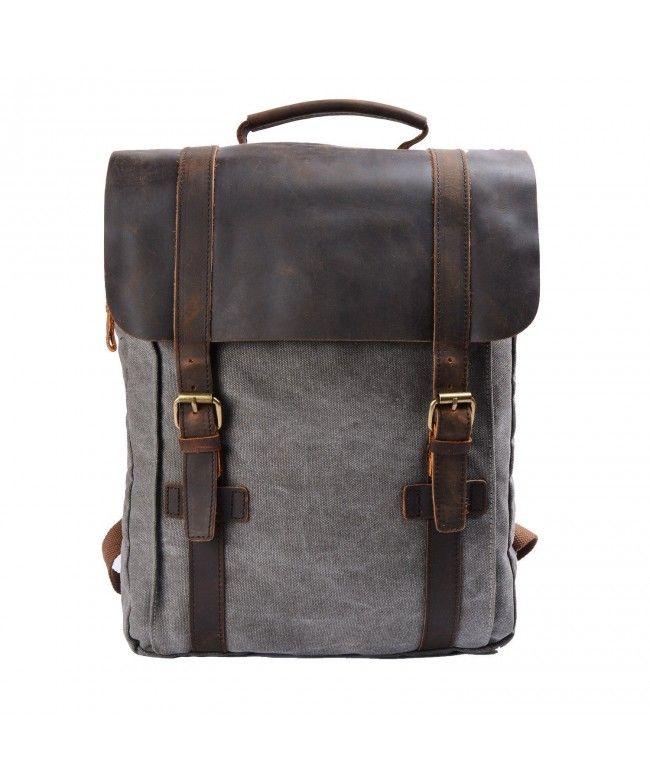 18fdbb79cee7 Retro Canvas Leather School Travel Backpack Rucksack 15.6-inch Laptop Bag -  Dark Gray -