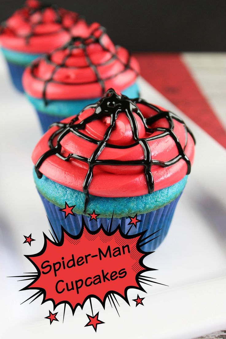 Spider-Man Cupcakes - These cupcakes are fun to make and even more fun to eat. Enjoy!! via @donnahup