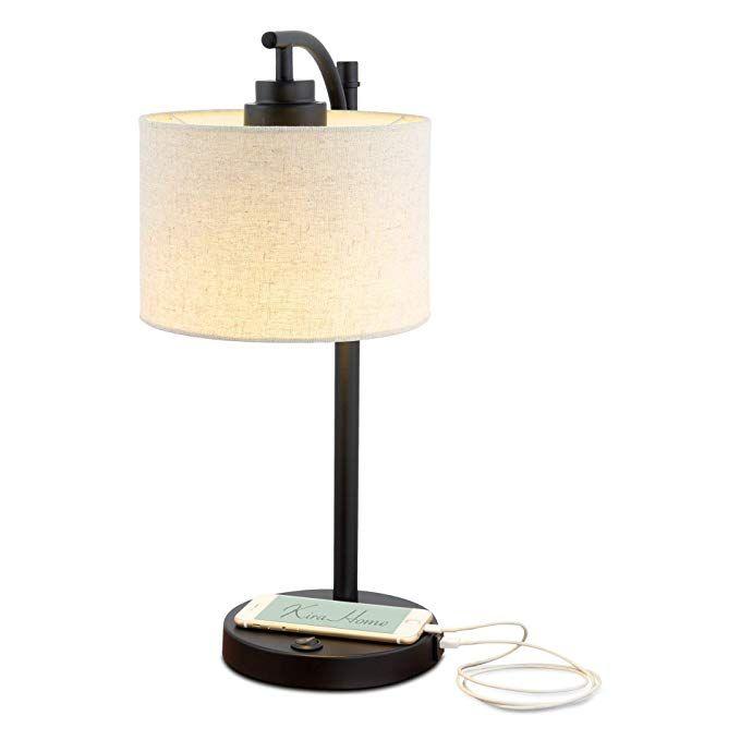 Kira Home York 18minimalist Led Table Lamp 7w Bulb Energy Efficient Eco Friendly Honey Beige Shade Modern Standi Hanging Lamp Shade Led Table Lamp Lamp