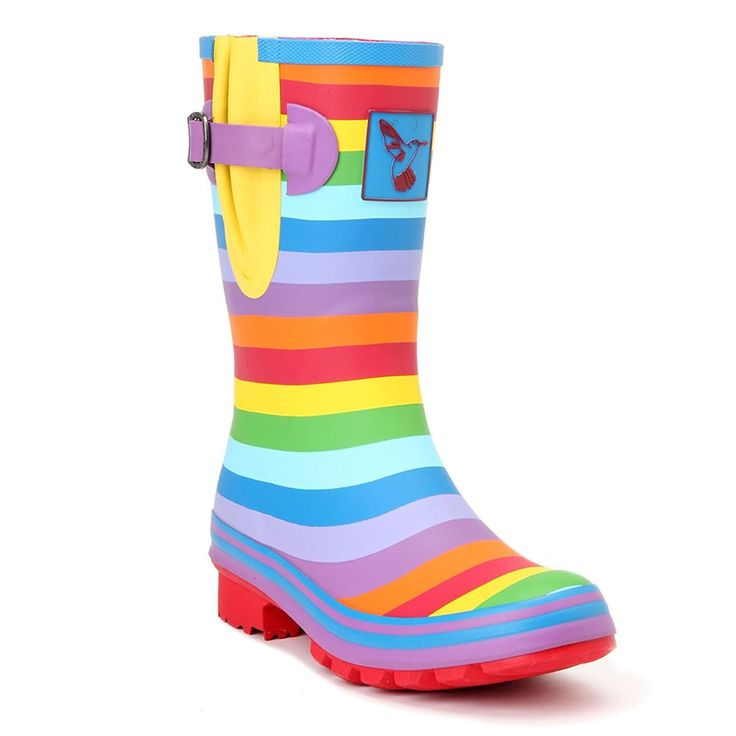 Women's Rain Boot Waterproof Mid-Calf Boots Rainbow Stripes Cute Animal Print Polka Dot Milky Wedding Rain Boots Wellies Rain Shoes UK Brand * Discover this special product, click the image : Boots