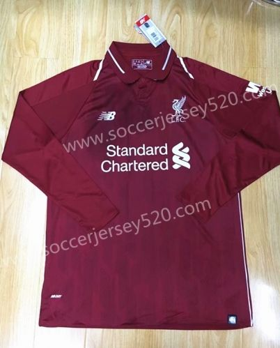 7531063947a 2018-19 Liverpool Home Red Thailand LS Soccer Jersey AAA