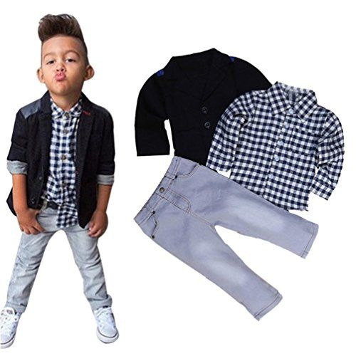 Familizo Tenues de Mode D'affaires de Garçons D'enfants 3PCS T-Shirt Tops  Blouse  Pantalon (Noir 4Ans)