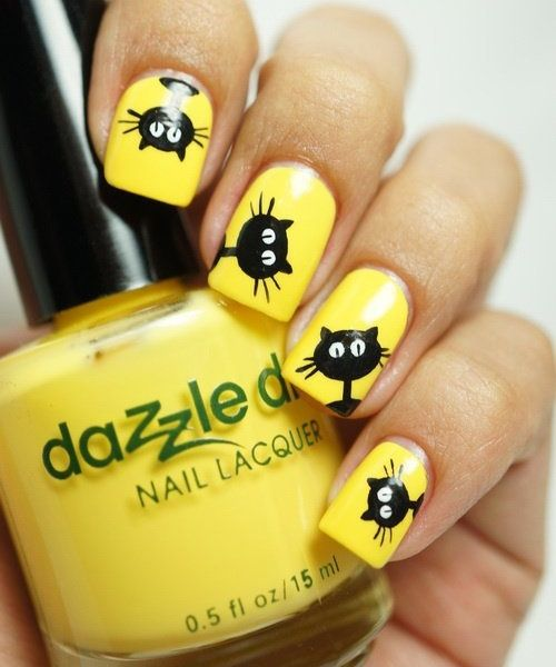 Yellow nails with cat design | Woman Hair and Beauty pics