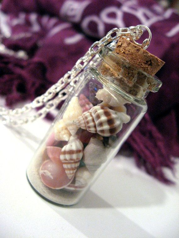 sea shell necklace - I love the tiny shells that fill up this tiny cork topped bottle....