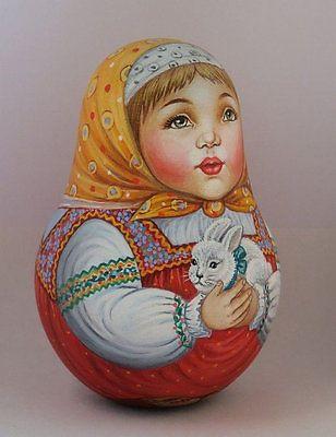 Русская матрешка-стакан красота девушка кролик ручная работа эксклюзив