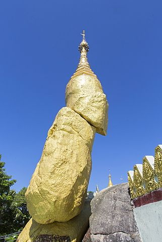 Nwa-La-Bo Pagoda golden rock and pagoda near Mawlamyine, Mon, Myanmar (Burma)…
