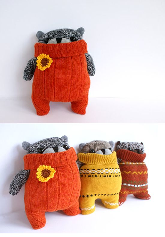 inspiration: the Remakerie upcycled sweaters SockBear and Rabbit handmade stuffed animals and sweater poufs on Etsy