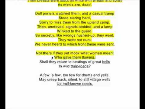 a review of wilfred owens poem the send off Hi, i wna know some more obvious n impt poetic devices used in wilfred owen's disabled, and how they brought out the essence of the poem:) thankyou.
