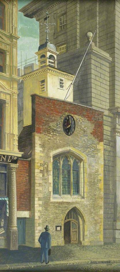 Facade of the Church of St Ethelburga, Bishopsgate, London, 1955 by Noël Spencer (English 1900–1986)