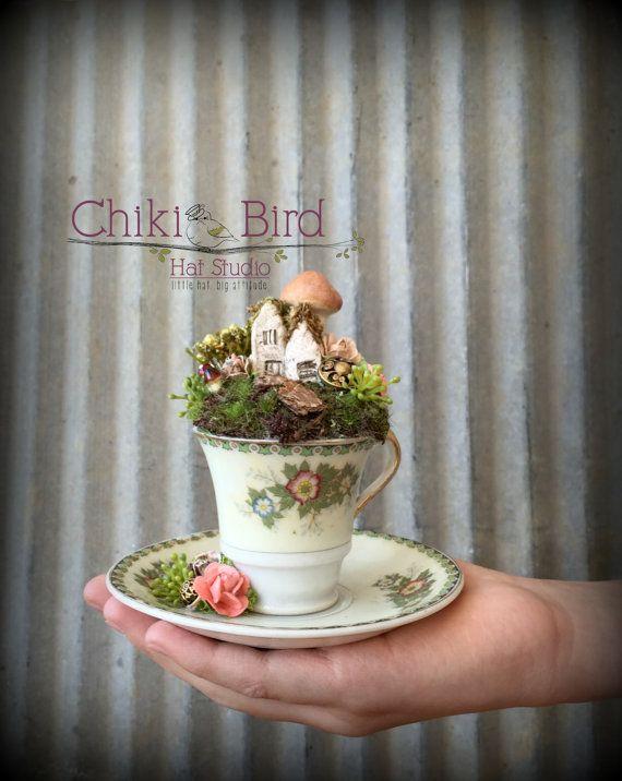 Tea Cup Garden, Fairy Village, Fairy Tea Cup, Cake Topper, Alice in Wonderland, Mad Tea Party, Place Marker, Flower Arrangement, Diorama