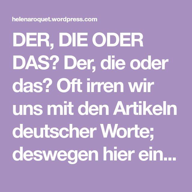 der die oder das  deutsche wörter wörter lernen